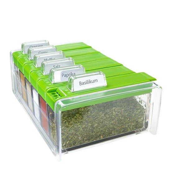 Emsa SPICE BOX kaartsysteembak voor specerijen met 6 kruiden. transparent/groen