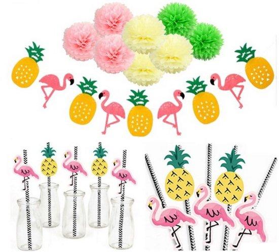 Party Set Hawaiian Flamingo - Feestje Set - Celebration - Pompon Rietjes Valentinaa