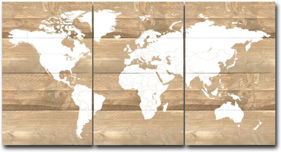 World map steigerhout drie delen 50x80cm - 929007122015