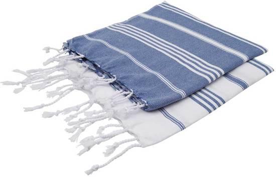 117043b72f2 ZusenZomer Set hamamdoeken XS - 2 x originele hammam handdoeken 100x50 cm -  blauw wit