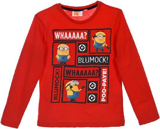 Minions longsleeve shirt maat 122/128 rood