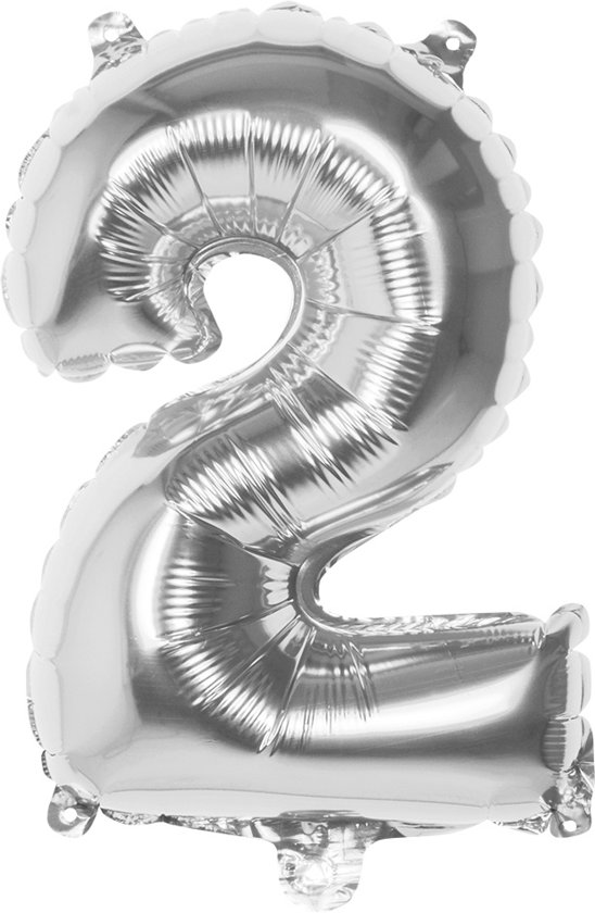 Folieballon nummer 2 zilver (36 cm)