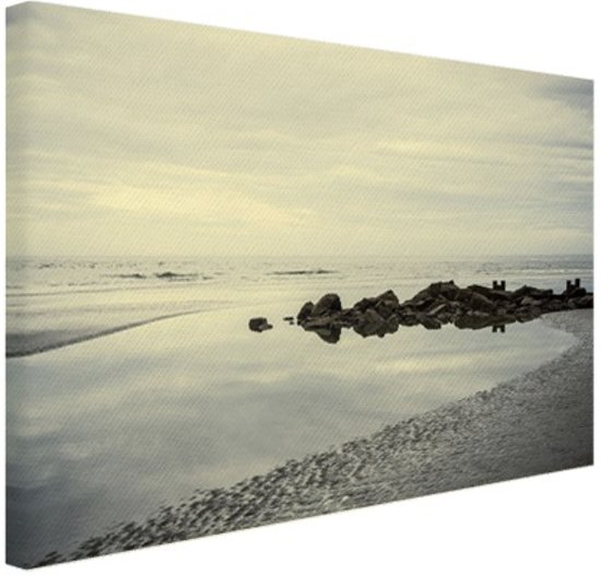 Strand in de ochtend Canvas 60x40 cm - Foto print op Canvas schilderij (Wanddecoratie)