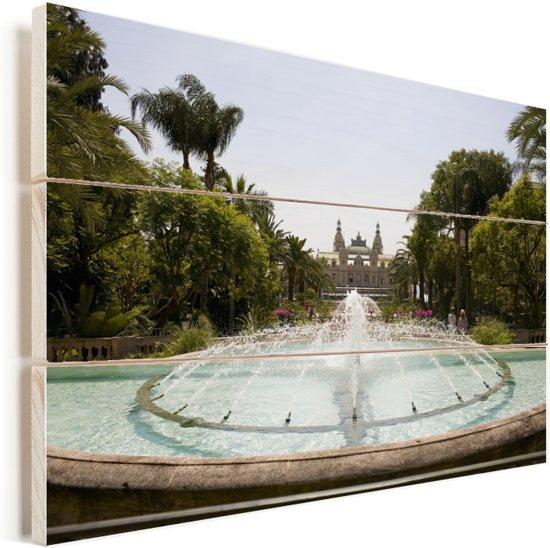 Fontein voor het Monte Carlo Casino in Monaco Vurenhout met planken 120x80 cm - Foto print op Hout (Wanddecoratie)
