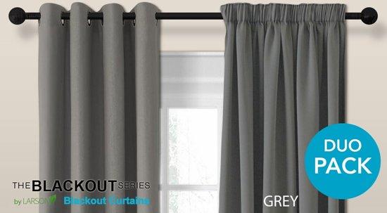 bol.com | Luxe blackout gordijn met ringen – grijs 3x2.5m ...