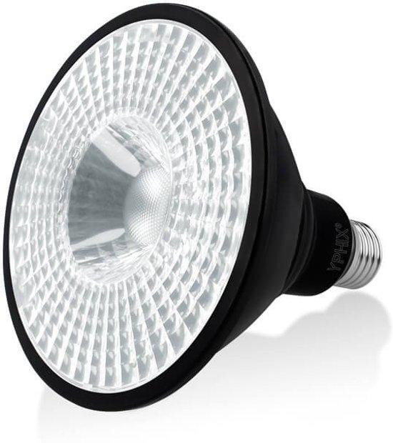 YPHIX LED Spot PAR 38 zwart E27 grote fitting - 17W - Wit licht (4000K)
