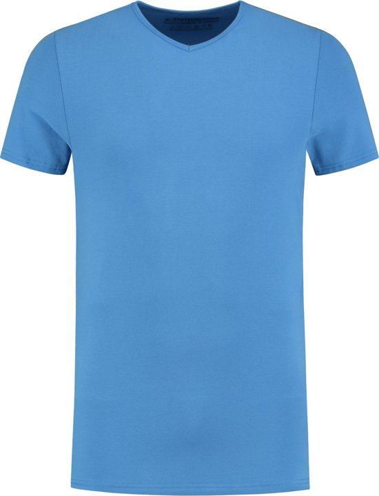 ShirtsofCotton Heren T-shirt Blauw Basic V-hals - L
