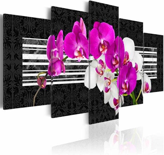 Schilderij - Orchidee in roze en wit