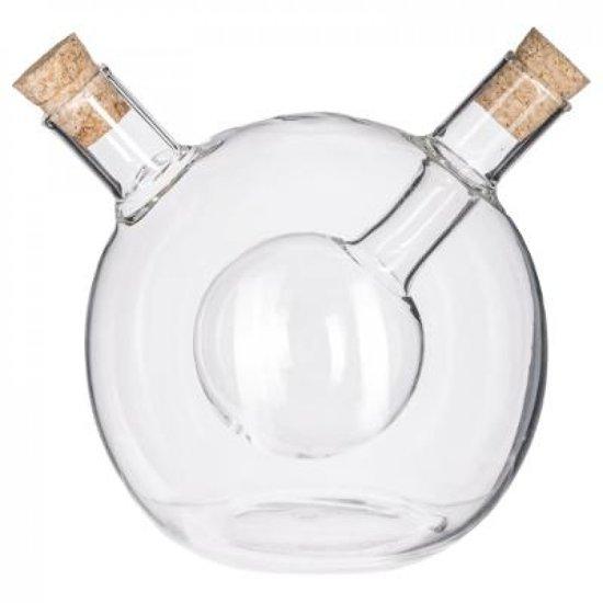 Olie- en azijnfles modern design in bolvorm met kurken