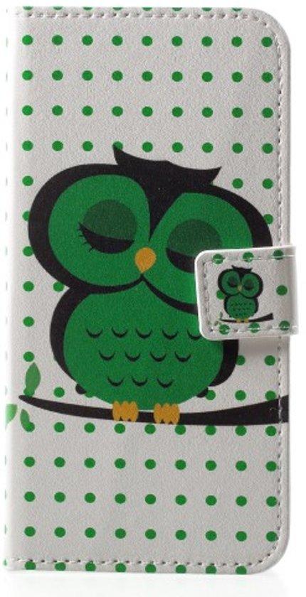 Groen uiltje agenda wallet hoesje Huawei P20 Lite