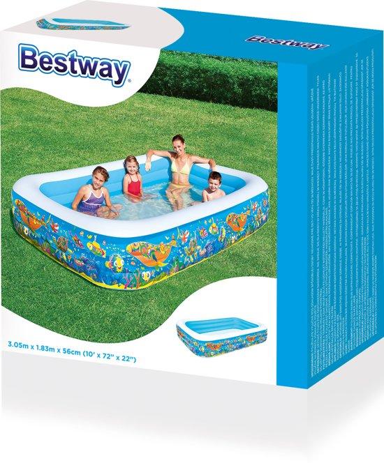 Bestway Kinderbad jumbopool 305 x 183 x 56 cm vissen