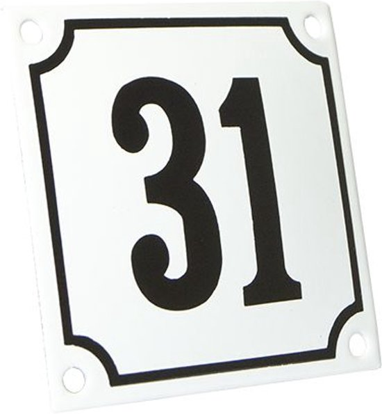 Emaille huisnummer wit/zwart nr. 31 10x10cm