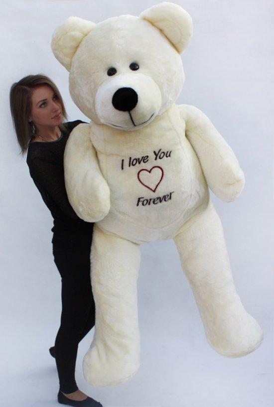 Grote Knuffelbeer 2 Meter.Teddybeer Xxl 180 Cm Love You Forever Wit