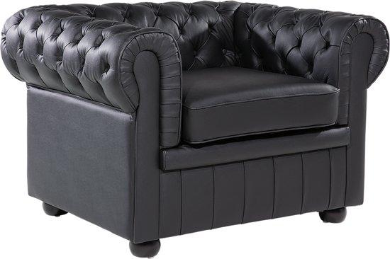 Bol beliani fauteuil chesterfield zwart leer