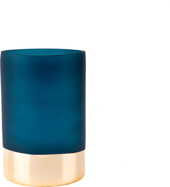 Vase Gold Glamour glass matt blue