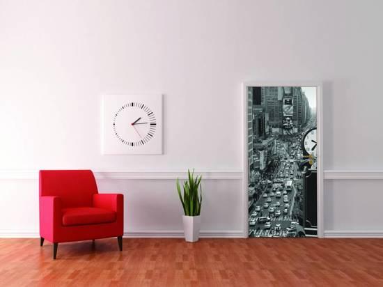 New York Street / Times Square - Deurposter - 210 x 95 cm - Grijs