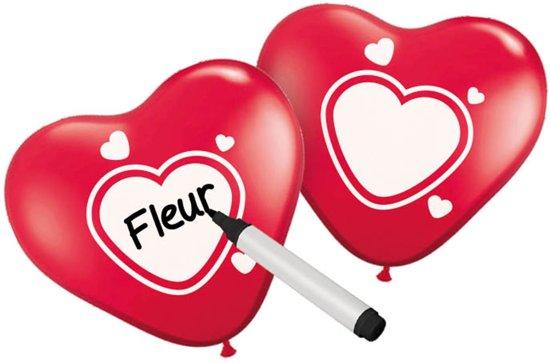 Folat Beschrijfbare ballonnen hart rood met wit - 6 stuks Valentinaa