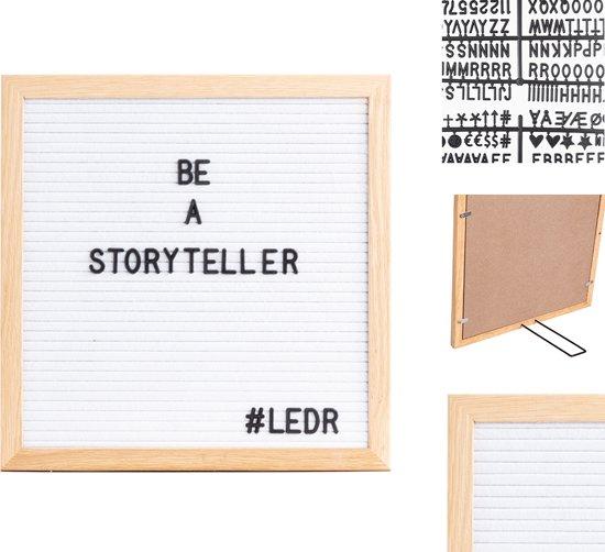 LEDR® Letterbord 30 x 30 Wit – Inclusief 354 letters, symbolen & emoticons – Inclusief verstelbaar standaard - Eiken houten frame