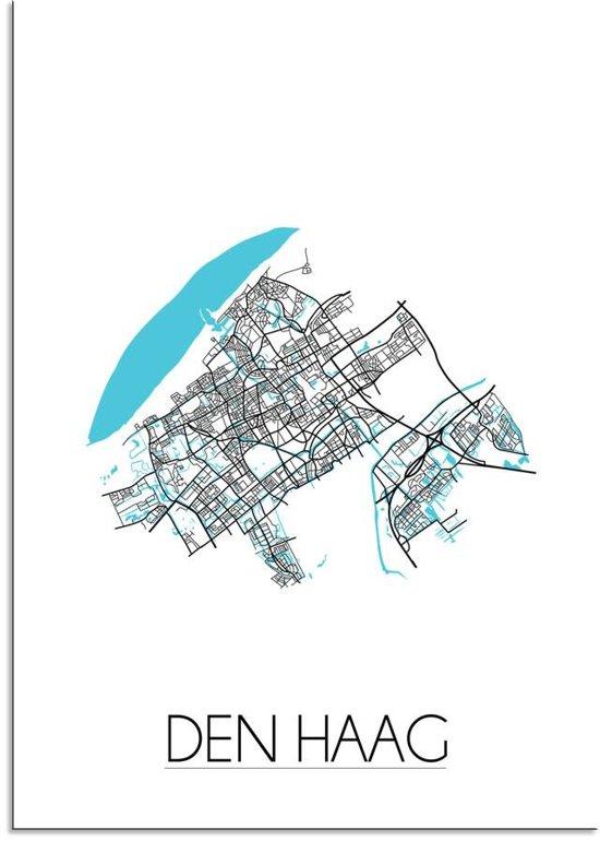 Plattegrond Den Haag Stadskaart poster DesignClaud - Wit - A3 + Fotolijst zwart
