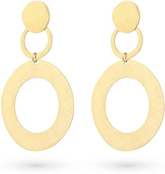 Twice As Nice High fashion Oorbellen, goudkleurig, 2 cirkels en ronde, gekrast