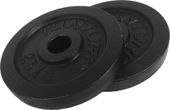 Tunturi Halterschijven - Halter gewichten - 2 x 2.50 kg - Ø 30 mm - Gietijzer