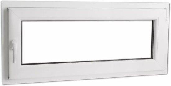 vidaXL PVC raam met driedubbele beglazing en handvat links 900 x 400 mm