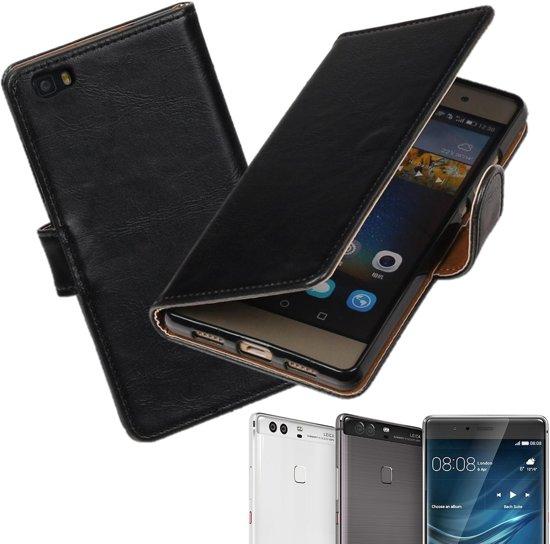 MP Case Zwart vintage lederlook bookcase voor -Huawei P9 Plus- hoesje in Sonniuswijk
