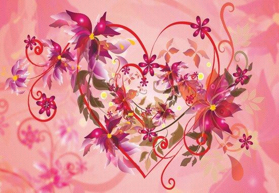 Fotobehang Abstract Art Flowers Heart | XL - 208cm x 146cm | 130g/m2 Vlies