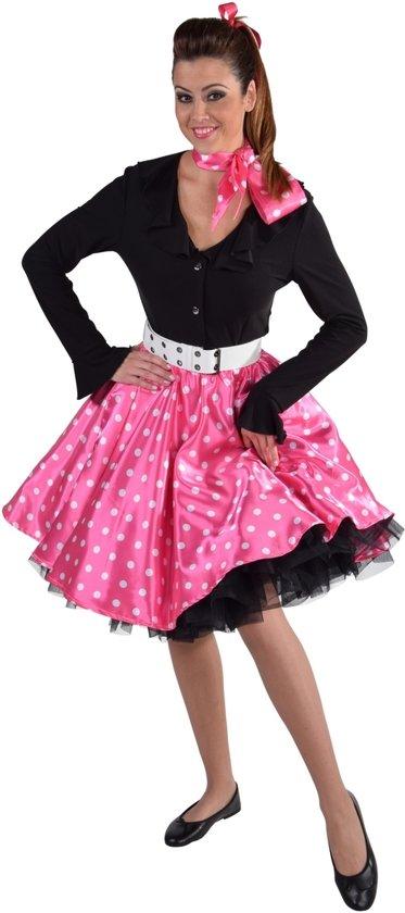 596b90dfedb001 Rock n roll rok roze met witte stippen - polkadots maat L XL (