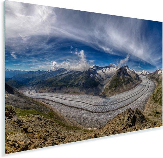 Panorama van de Aletschgletsjer in Zwitserland met blauwe lucht Plexiglas 90x60 cm - Foto print op Glas (Plexiglas wanddecoratie)