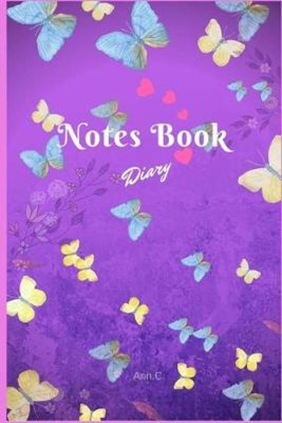 Notes Book Diary: Notes Book Diary Flower Flora Lovely Butterfly DATE Blue Line