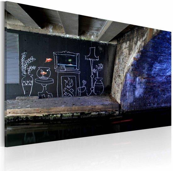 Schilderij Met Eigen Foto.Bol Com Schilderij Mijn Eigen Stuk Grond Banksy 40x60cm