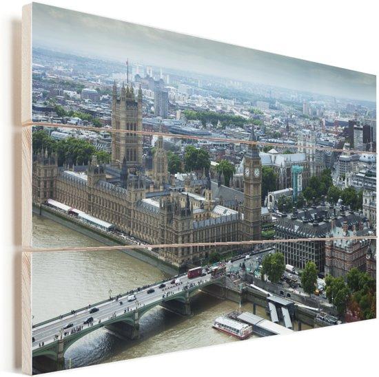 Luchtfoto van Londen en de Big Ben Vurenhout met planken 30x20 cm - klein - Foto print op Hout (Wanddecoratie)