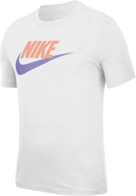 Nike Nsw Icon Futura Heren T shirt WhitePink Quartz(Medium Violet) Maat S