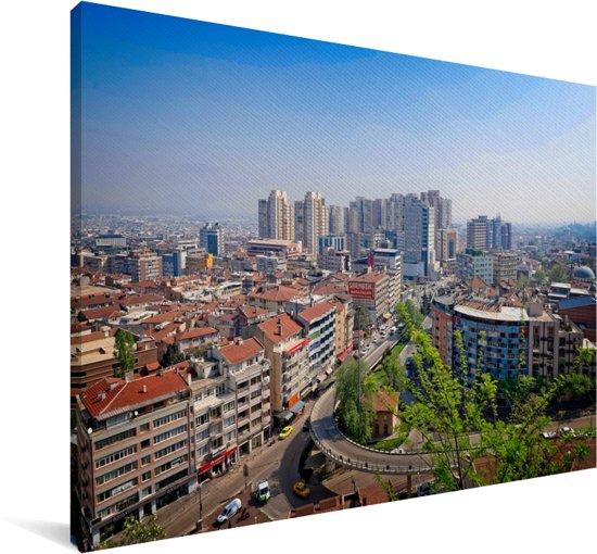 Panorama van het Turkse stadslandschap van Bursa in Europa Canvas 90x60 cm - Foto print op Canvas schilderij (Wanddecoratie woonkamer / slaapkamer)