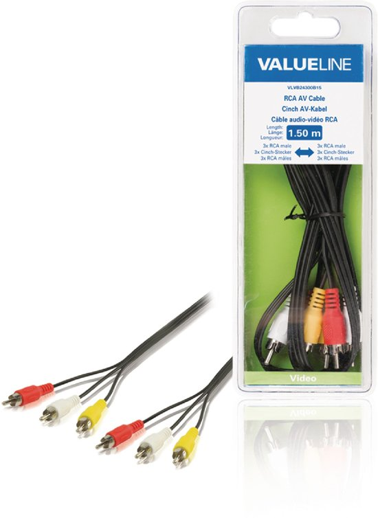 Composite Video Cable 3x RCA Male - 3x RCA Male 1.50 m Black