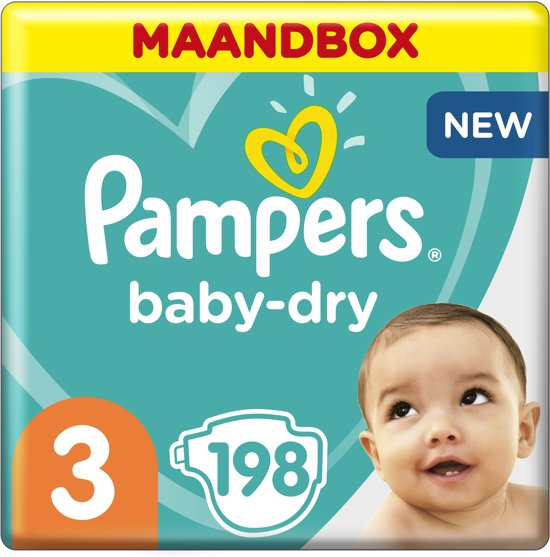 Pampers Baby-Dry - Maat 3 (Midi) 6-10 kg - Maandbox 198 Stuks - Luiers