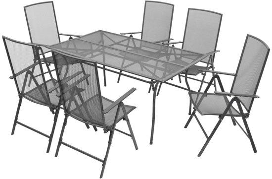 vidaXL 7-delige Tuinset met klapstoelen staal antraciet