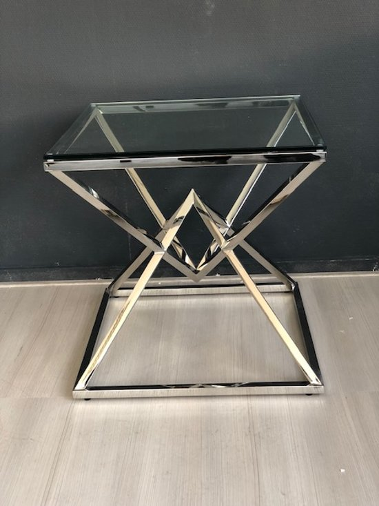 Bijzettafeltje Glas Chroom.Bol Com Bijzettafel Chrome Enzo Diamant Onderstel
