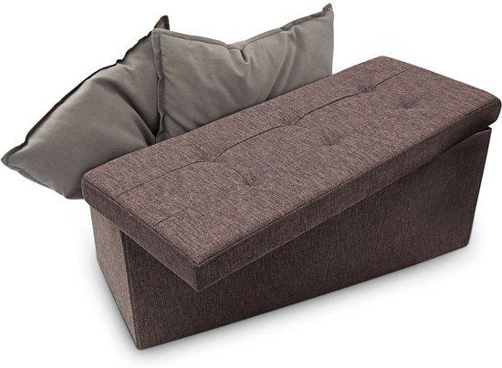 relaxdays opvouwbare zitbank - linnen - zitkist met opslagruimte - bank - 38 x 76 x 38 cm bruin