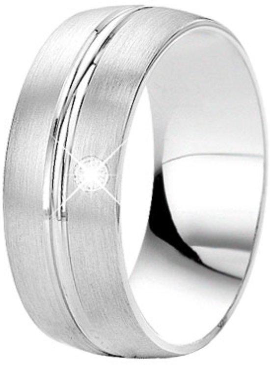 Lucardi - You & Me - Zilveren vriendschapsring met diamant You & Me