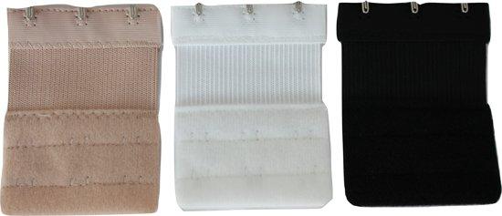 Bh verlengstuk / vergroter 3 haakjes met elastiek (set van 3) zwart, wit, huid