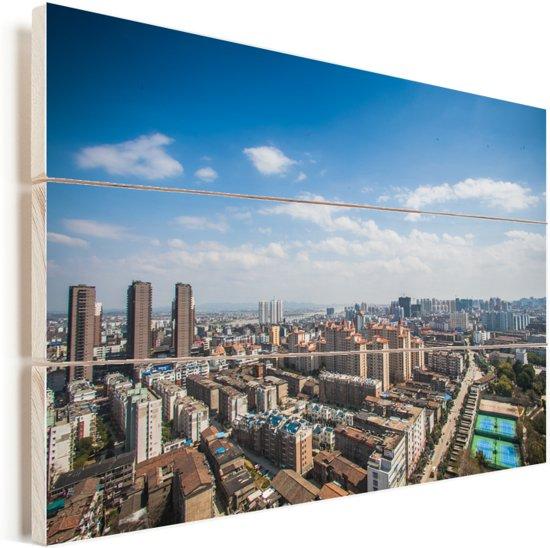 Prachtige skyline van Fuzhou in China Vurenhout met planken 60x40 cm - Foto print op Hout (Wanddecoratie)