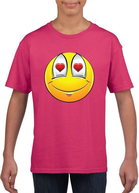Smiley/ emoticon t-shirt verliefd roze kinderen L (146-152)