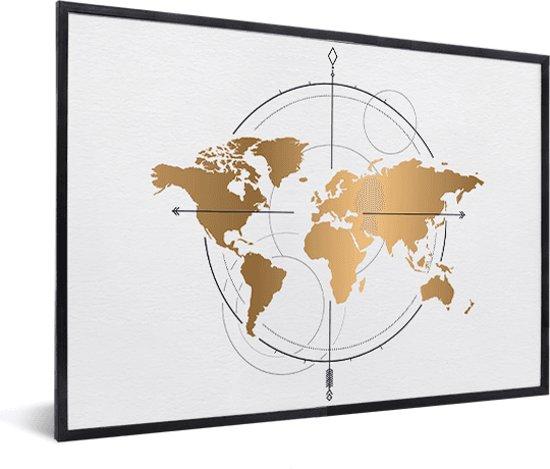 Grote Lijst Met Passepartout.Bol Com Kompas Groot Goud In Lijst Zwart 40x30 Cm Inclusief Passe