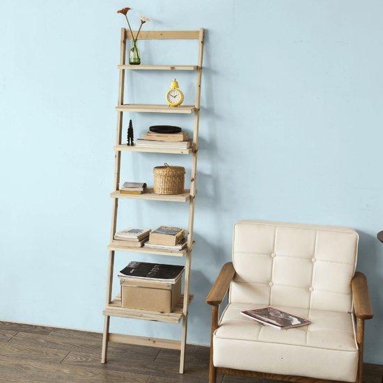 Super leuke ladderkast - Ladderplank - Badkamermeubel - Slaapkamerplank - Wandkast - Open kast met 6 planken - 165 x 41 x 30 cm - Houtkleur