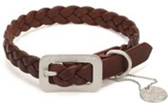 Leren halsband - Bruin - 52 cm x 35 mm