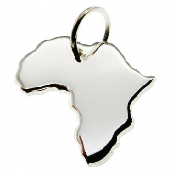 Zilveren Landkaart Afrika ketting hanger