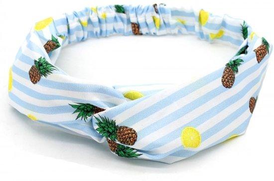 Haarband lichtblauw met strepen, citroenen en ananassen print
