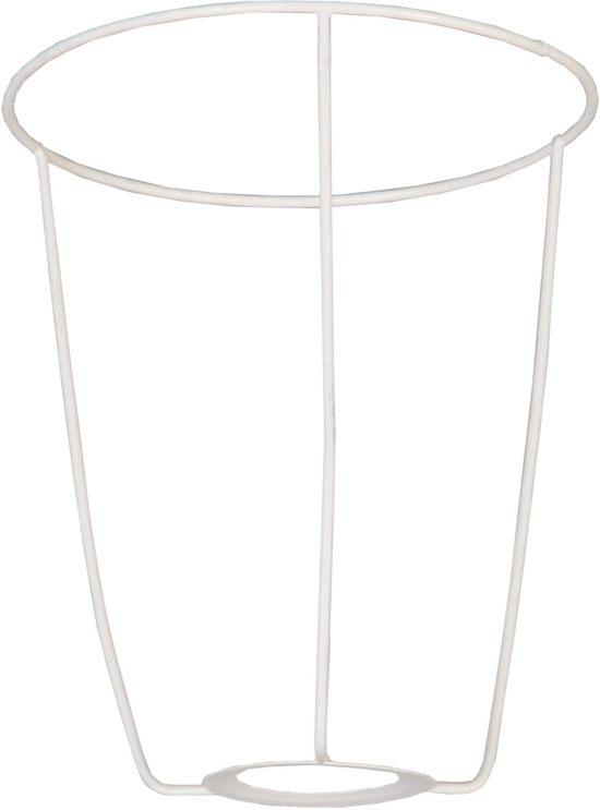 Katoenen Lampenkap metalen frame  doorsnede:  16*19 cm wit